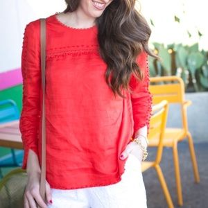 J.Crew 6 Red Embroidered Linen Top